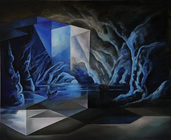 Petra Ottkowski, Ausflug, Öl auf Leinwand, 2016, 50 x 60 cm